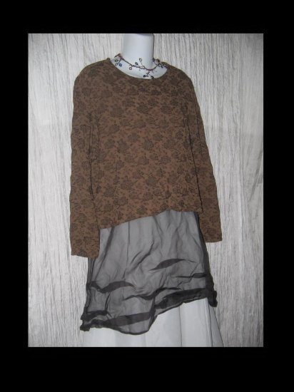 No Saint Brown Floral Rayon Pullover Shirt Tunic Top Small S