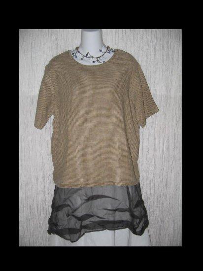 FLAX Jeanne Engelhart Linen Pullover Shirt Tunic Top Small S