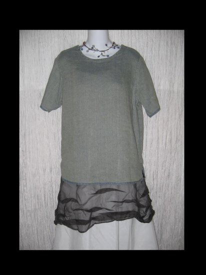 FLAX Jeanne Engelhart Reversible Linen Tunic Top Shirt Petite P