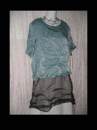 NWT No Saint Slinky Teal Rayon Pullover Shirt Tunic Top Medium M
