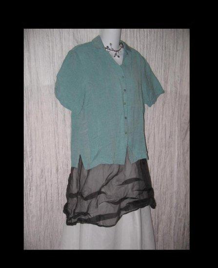 EILEEN FISHER Teal Linen Rayon Button Shirt Tunic Top Medium M