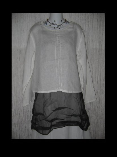 j. Jill Boxy White Linen Pullover Shirt Tunic Top Medium M