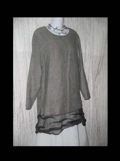 FLAX Jeanne Engelhart Reversible Linen Tunic Top Shirt Small S
