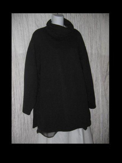 Jacque & Koko Soft Black Textured Knit Turtleneck Tunic Top 22 / 24