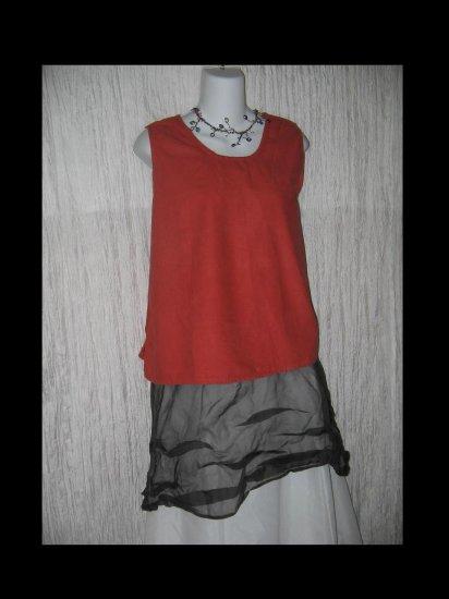 FLAX Soft Red Cotton Flannel Tank Top Jeanne Engelhart Medium M