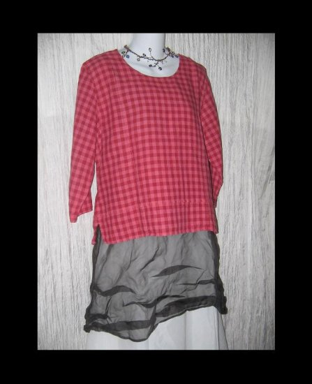 Christopher & Banks Cute Raspberry Gingham Boxy Linen Tunic Top Shirt XL