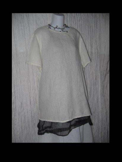 FLAX by Jeanne Engelhart Soft White Waves Linen Tunic Top Shirt Medium M