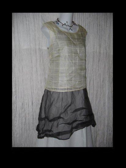 TAMOTSU NY Cream Silk Windowpane Shirt Tunic Top Shell 10