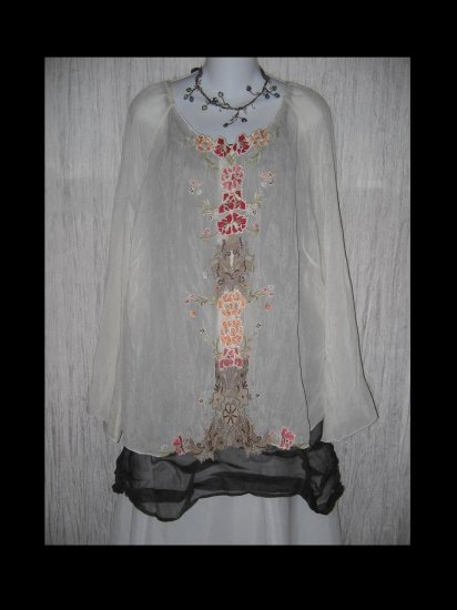 NWT J. Jill Stunning Ethereal Floral Embroidery Jacket Tunic Top Shirt 2X
