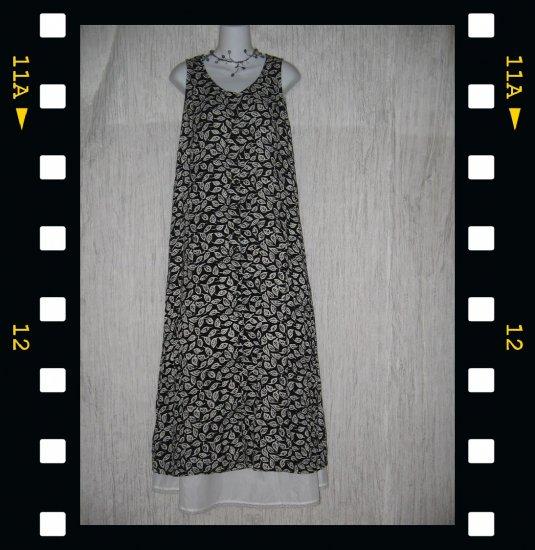 PUTUMAYO Long Soft Black & White Rayon Leaf Dress X-Small XS