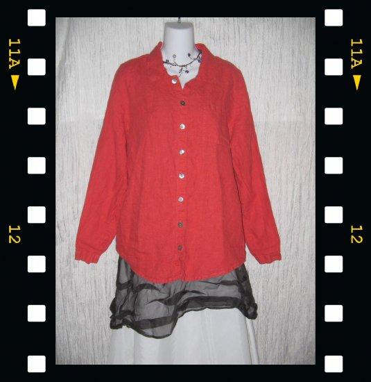 FLAX Rose LINEN Button Shirt Top Jeanne Engelhart Petite P