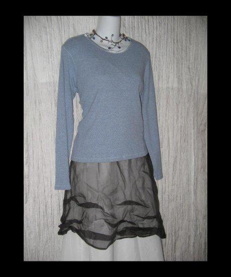 J. JILL Soft Blue Cotton Knit Pullover Shirt Top Medium M