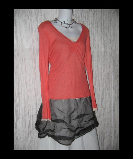 J. JILL Softest Pink Cotton Knit Layered Shirt Tunic Top Medium M