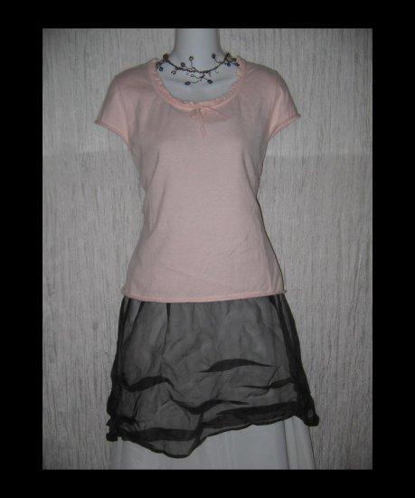 GAP Soft Pink Cotton Wool Knit Ruffle Trim Tee Shirt Top Large L
