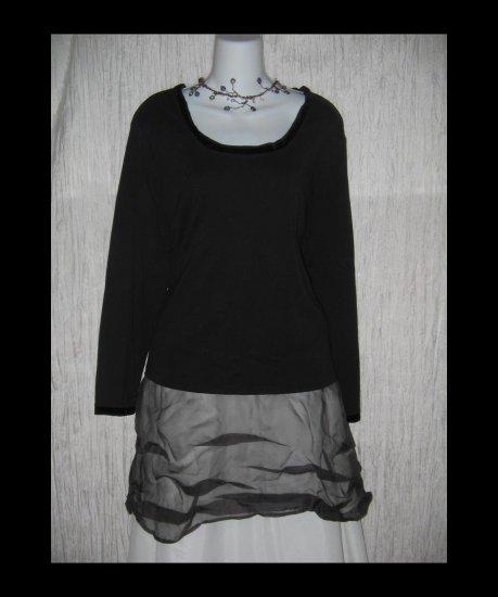 New J. JILL Black Velvet Trimmed Tee Pullover Shirt Top 2X