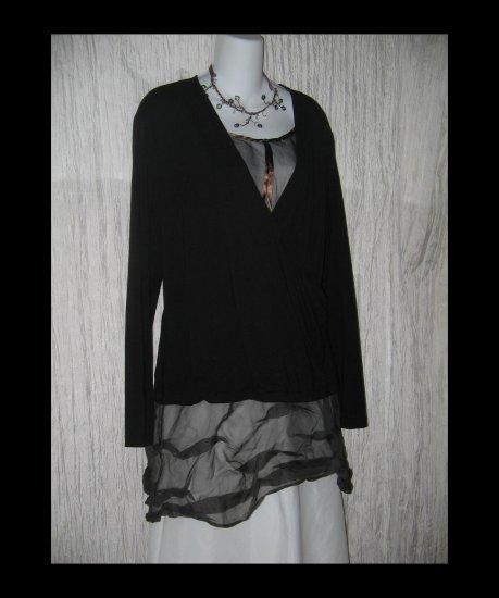 New J. Jill Soft Black Rayon Knit Wrapped Tunic Top Shirt X-Large XL