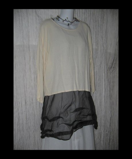 Eileen Fisher Boxy Cream Pullover Shirt Tunic Top S M