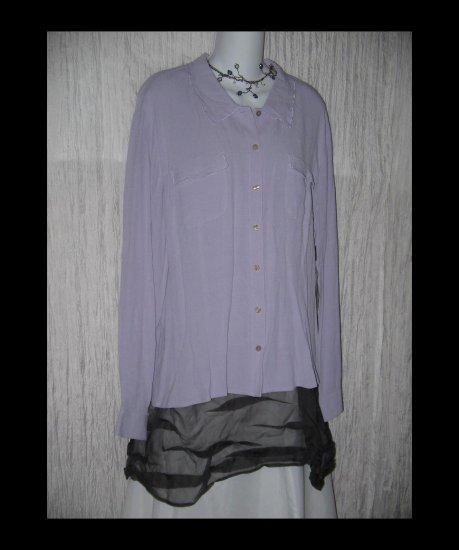 NWT J. Jill Lilac Whisper Crepe Button Shirt Tunic Top X-Large XL