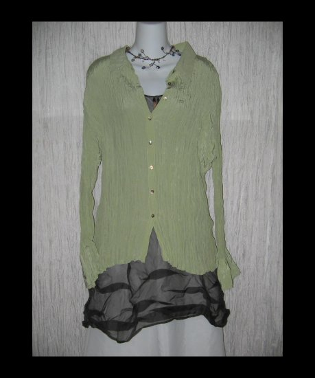 New J. Jill Soft Green Pleated Silk Shirt Tunic Top X-Large XL