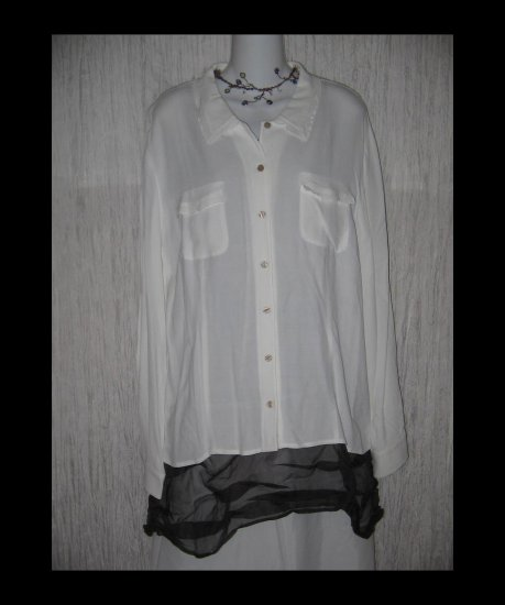 New J. Jill White Whisper Crepe Button Shirt Tunic Top X-Large XL