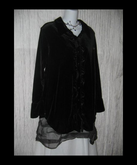 JACLYN SMITH Draping Black Velvet Ruffled Tunic Top Jacket 1X