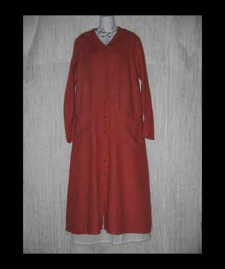 Flax Shapely LINEN Duster Dress Jacket Jeanne Engelhart Large L