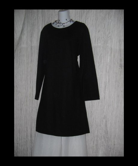 New J. Jill Long Shapely Black Wool Knit Tunic Dress X-Large XL