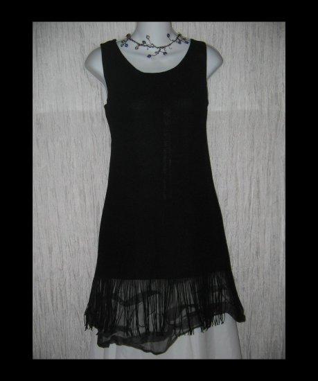 J. Valdi Long Black Knit Fringe Trimmed Tunic Top Shirt Small S