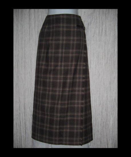 NWT Rafaella Classic Long Earthy Plaid Wool Faux Wrapped Buckle Skirt 10