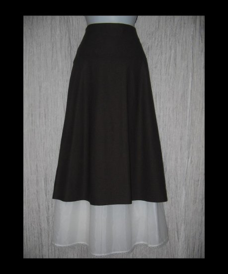 New Eileen Fisher Fluttery Brown Mid Calf Knit Skirt Large L