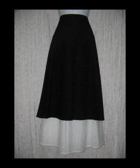 New Eileen Fisher Fluttery Black Mid Calf Knit Skirt Large L