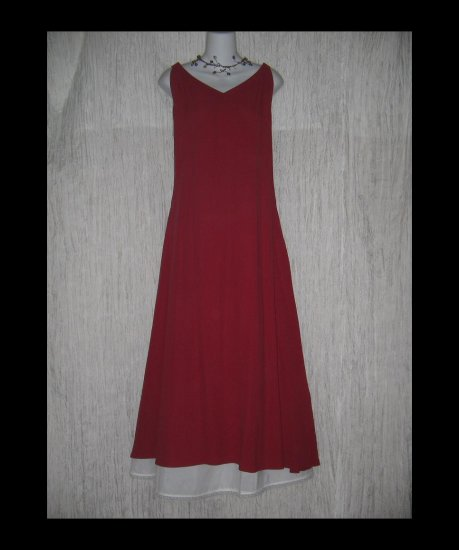 NWT Eileen Fisher Long Shapely Berry Red Silk Crepe Dress Large L