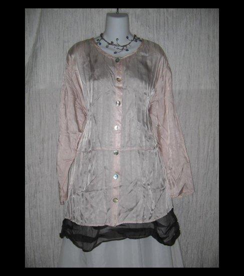 Jeanne Engelhart FLAX Pink Rayon Tunic Top Shirt Dress Medium M