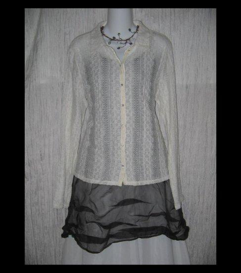 New J. Jill White Velvet Lace Knit Button Tunic Top Shirt Large L