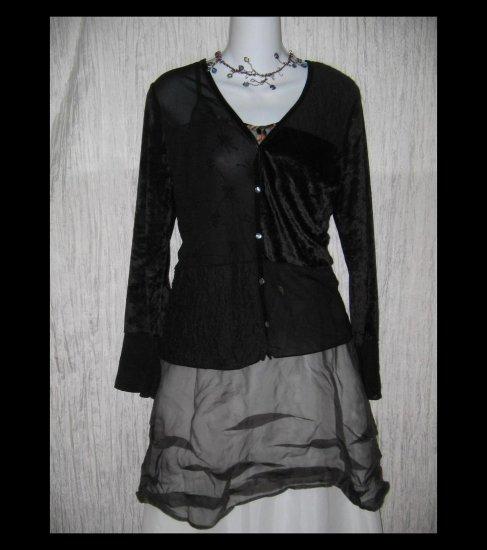 J. Jill Shapely Black Patchwork Tunic Top Shirt Large Petite LP