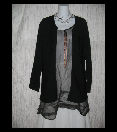 DUE per Due Collection Long Black Rayon Open Cardigan Tunic Sweater Large L