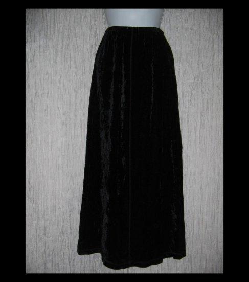 J. Jill Long Fluttery Black Rayon Velvet Skirt X-Small XS