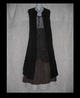 Eileen Fisher Long Black Textured Linen & Cotton Button Dress Small S