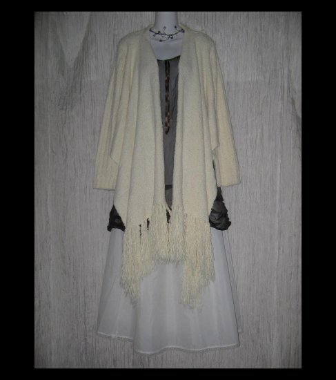April Cornell Soft Nubby White Shawl Front Cardigan Sweater Small S