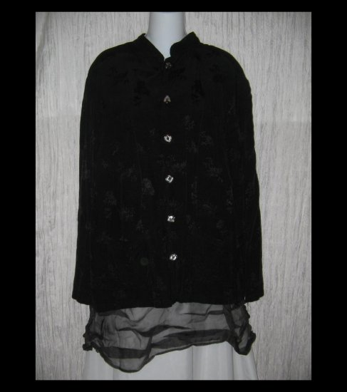 CP SHADES Loose Black Floral Rayon Button Shirt Top Medium M