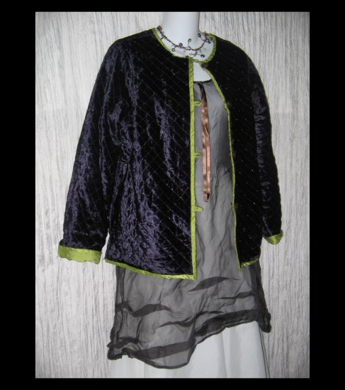 Coldwater Creek Reversible Green & Purple Silk Velvet Jacket Coat XSP