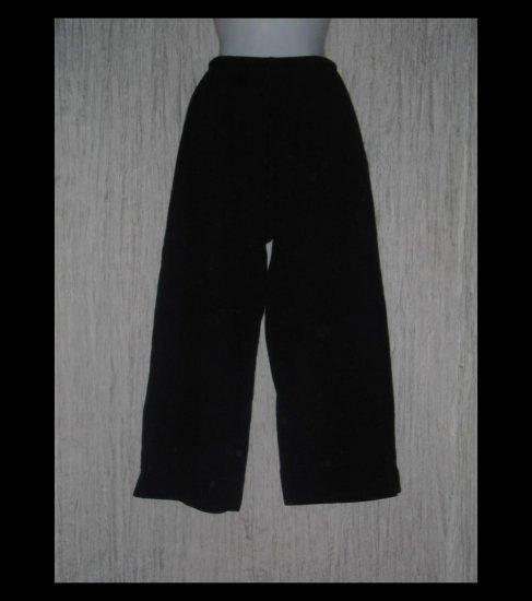 Basic Threads Santa Monica Loose Black Textured Knit Drawstring Pants Medium M