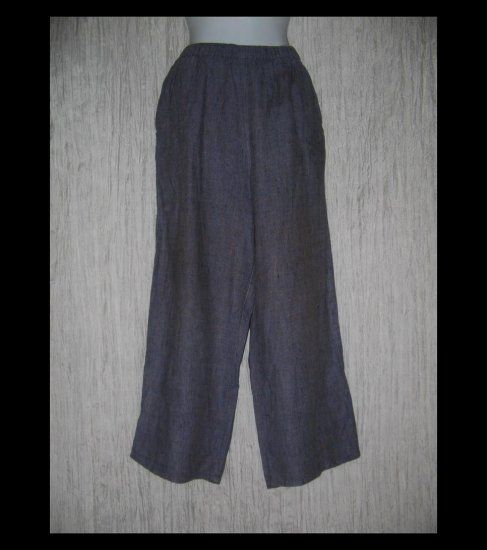 FLAX by Jeanne Engelhart Purple Crossweave LINEN Floods Pants Small S