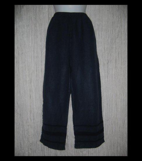 J. Jill Deep Blue Ribbon Trimmed LINEN Beach Pants Large L