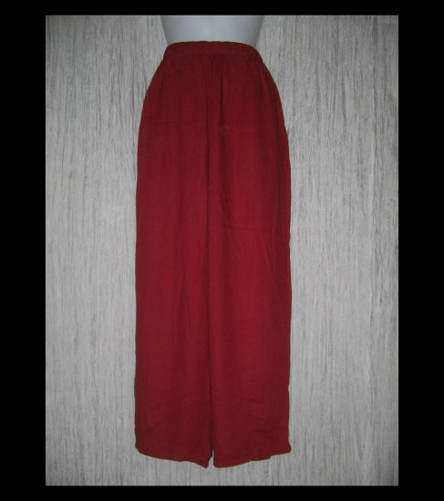 FLAX Loose Red Rayon Floods Pants Jeanne Engelhart Large L