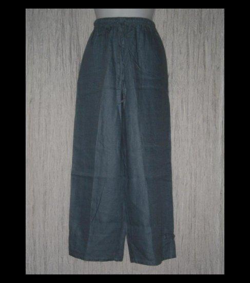 J. Jill Dusty Blue Wide Leg Asian Knot Linen Drawstring Pants Medium Petite MP