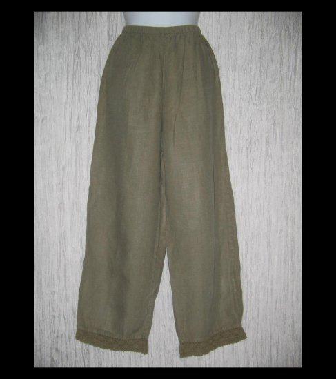 J. Jill Crochet Trimmed Gray LINEN Pants Medium M