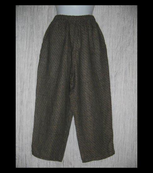 FLAX by Jeanne Engelhart Brown Basket Weave LINEN Capri Pants Small S