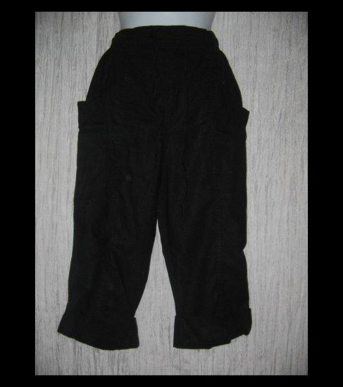 ARGEE Black Linen & Rayon Wide Cuffed Drawstring Capris Pants Medium M