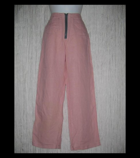 Solitaire Cute Pink & Gray Shapely Linen Trousers Pants Small S